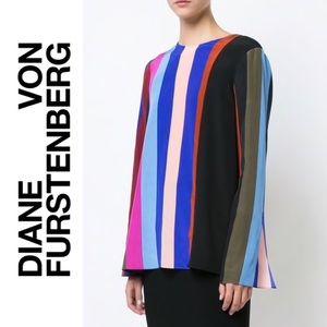 DVF Carson Stripe 100% Silk Blouse